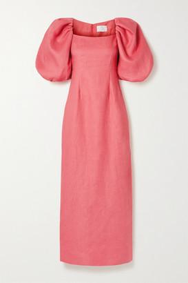 Rebecca De Ravenel Linen Maxi Dress - Coral