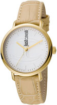 Just Cavalli 34mm CFC Stainless Steel Watch w/ Leather Strap, Ivory