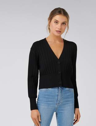 Forever New Molly Pleat Button Cardigan - Black - xxs