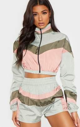 PrettyLittleThing Khaki Colour Block Cropped Jacket