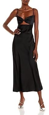 David Koma Logo Bra Detail Satin Midi Dress
