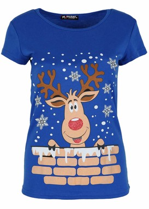 Be Jealous Women Xmas T Shirt Rudolph Reindeer Snowflake Top Reindeer On Wall Royal Blue Plus Size (UK 20/22)