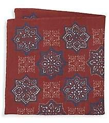 Eton Men's Large Medallion Wool & Silk Pocket Square