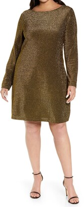 MICHAEL Michael Kors Draped Back Long Sleeve Sparkle Dress