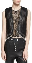 Alexander Wang Chain-Trim Leather Western Vest, Black