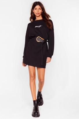 Nasty Gal Womens Word on the Street Mini Sweatshirt Dress - Black