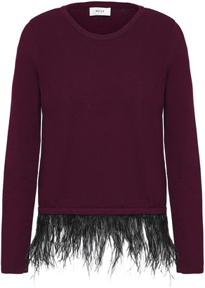 Milly Feather-trimmed Ponte Top