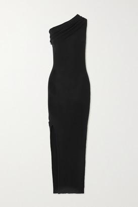 Rick Owens One-shoulder Draped Ribbed Wool Dress - Black