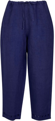 Nologo Chic Garment Washed Linen Cutwork Trouser - French Ultramarine Blue