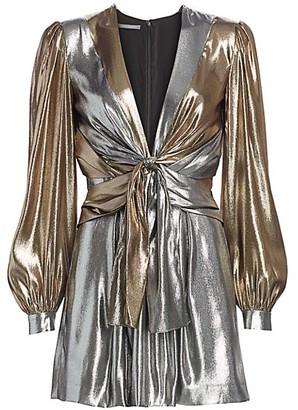 Alberta Ferretti Front-Tie Metallic Lame Mini Dress