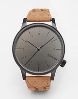 Komono Winston Plaited Leather Strap Watch - Brown