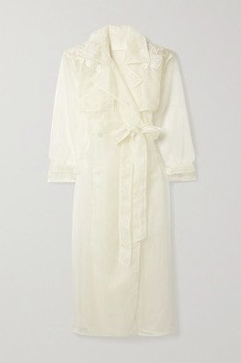 DANIELLE FRANKEL Allegra Corded Lace-trimmed Organza And Tulle Trench Coat - Ivory