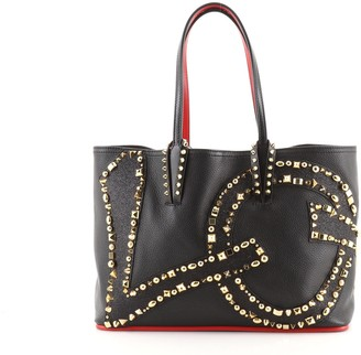 Christian Louboutin Cabata East West Tote Studded Glitter and Leather Small