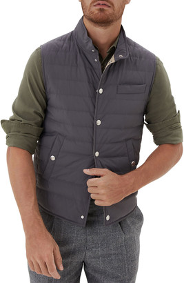 Brunello Cucinelli Men's Snap-Front Quilted Down Vest