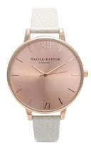 Olivia Burton 'Big Dial' leather strap watch