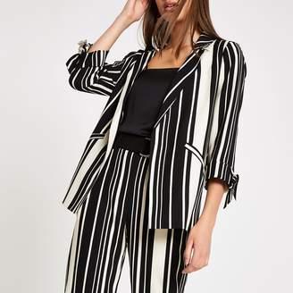River Island Womens Black stripe tie sleeve blazer