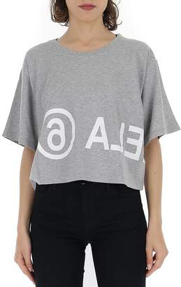 MM6 MAISON MARGIELA Logo Printed Cropped T-Shirt