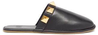 Valentino Garavani Roman Stud Leather Slippers - Black