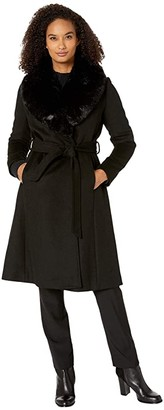 Lauren Ralph Lauren Wool Wrap with Faux Fur (Black) Women's Clothing