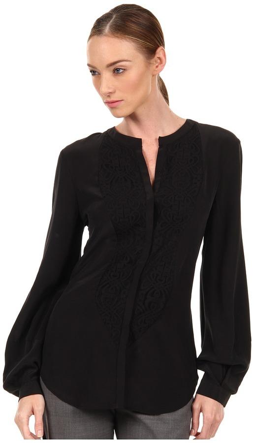 Rachel Roy Panel Blouse (Black) - Apparel