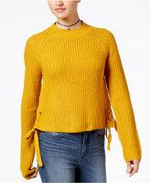 Ultra Flirt by Ikeddi Juniors' Lace-Up Cropped Sweater