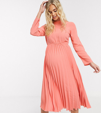 ASOS DESIGN Maternity pleated high neck midi dress in coral