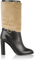 Burberry shearling-paneled leather boots