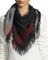 Burberry Wool Color Check Square Scarf, Black/White