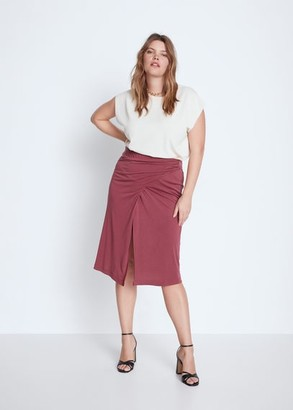 MANGO Violeta BY Slit wrap skirt maroon - S - Plus sizes