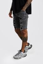 boohoo Mens Grey Super Skinny All Over Rips Denim Shorts, Grey