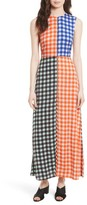 Diane von Furstenberg Women's Print Block Stretch Silk Maxi Dress