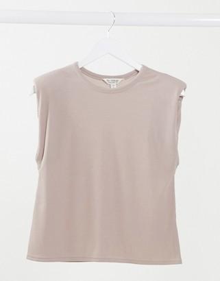 Miss Selfridge ribbed shoulder pad t-shirt in mink