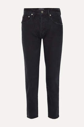 A Gold E Agolde AGOLDE - Jamie Distressed Organic High-rise Straight-leg Jeans - Black