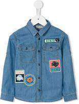Kenzo multi-patch denim shirt - kids - Cotton - 4 yrs