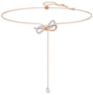 "Swarovski Two-Tone Crystal Bow Adjustable 11-3/4"" Lariat Necklace"