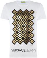 Versace Jeans Diamond Foil Print Crew Neck T Shirt