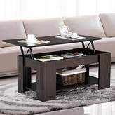 Topeakmart Modern Wood Lift up Top Coffee Table with Under Storage Shelf, Espresso