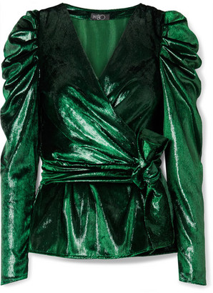 PatBO Metallic Velvet Wrap Top - Dark green