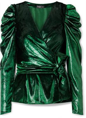 PatBO Metallic Velvet Wrap Top - Dark green