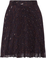 Haute Hippie Goodnight pleated metallic printed silk-blend georgette mini skirt