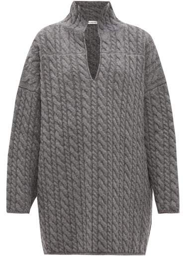 Balenciaga Oversized Cable Knit Wool Sweater - Womens - Grey