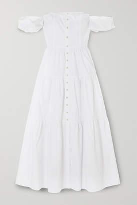 STAUD Elio Off-the-shoulder Cotton-blend Midi Dress - White