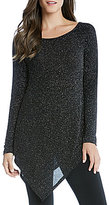 Karen Kane Diamond Dust Scoop Neck Long Sleeve Angle-Hem Top