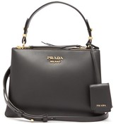 Prada Deux Leather Handbag - Womens - Black