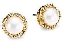 Kate Spade Women's 12K Goldplated, Faux Pearl & Pavé Halo Large Stud Earrings