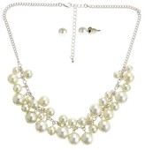"Nobrand No Brand Women's Fashion Necklace and Earring Set with Simulated Pearls - Ivory and Gold (18"")"