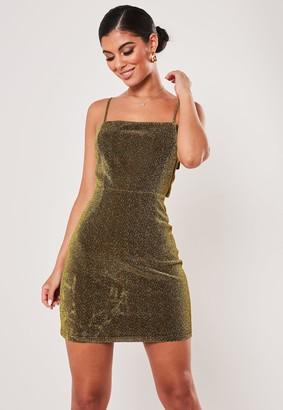 Missguided Tall Gold Sparkle Tie Back Mini Dress