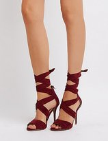 Charlotte Russe Faux Suede Ankle Wrap Dress Sandals