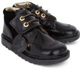 Kickers Black Leather & Velvet Boots