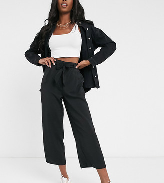 New Look Tall tie waist pants in black